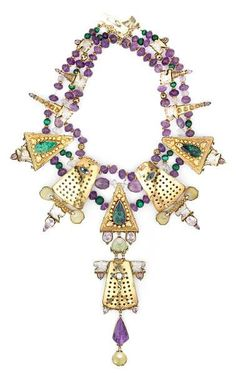 Tony Duquette (American, 1914-1999), 1990s. An amethyst, carved jade, malachite bead, rock crystal, abalone, sugilite, zircon, enameled glass and vermeil necklace