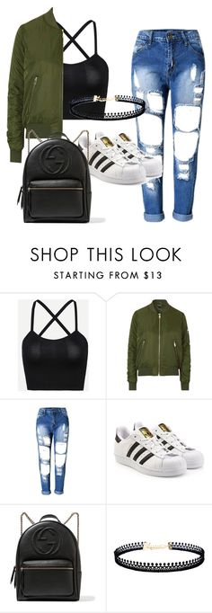"""Untitled #1"" by neslhigt ❤ liked on Polyvore featuring Topshop, adidas Originals, Gucci and LULUS"
