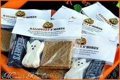 Great idea on Halloween for trick-o-treaters! Just a graham cracker rectangle split in two, a mini Hershey's chocolate bar, and ghost peeps or ghost shaped marshmallows! Could be used with or without the big label on top.