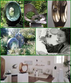 "Dame Barbara Hepworth DBE, ""One of the few women artists to achieve international prominence."" A leading figure in the St. Ives group, she lived in Trewyn Studios with artist husband Ben Nicholson. A skilled draughtsman, she produced nearly 80 Barbara Hepworth, Venice Biennale, English Artists, St Ives, Modern Artists, Modern Sculpture, Abstract Landscape, Drawing S, Chalk Ink"
