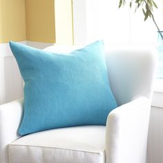 European Flax Linen Pillow Cover – Turquoise Square