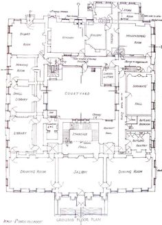 Redgrave Hall, Suffolk, first floor plan. Note the lack of bathrooms! Courtyard House Plans, House Floor Plans, Home Design Plans, Plan Design, Mansion Plans, Architectural Floor Plans, Vintage House Plans, Floor Plan Layout, Architecture Plan
