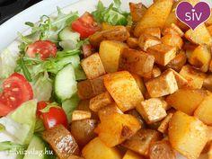 Brassói füstölt tofuval - Finom és egészséges ételek! Falafel, Wok, Sweet Potato, Dairy Free, Paleo, Food And Drink, Gluten, Potatoes, Vegetarian
