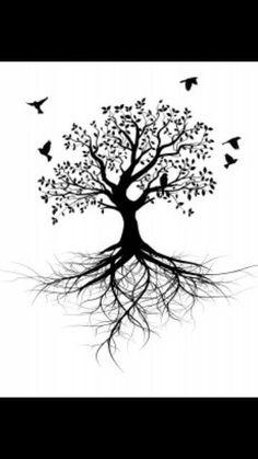 Super Ideas for bird design tattoo tree tat Nature Tattoos, Body Art Tattoos, Small Tattoos, Tatoos, Tattoo Life, Tree Roots Tattoo, Tree With Birds Tattoo, Tree Tattoo Side, Celtic Tree Tattoos