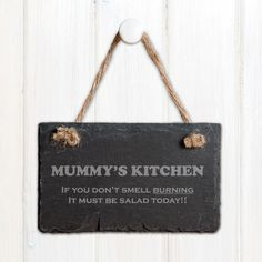 Engraved Slate Door Plaque - Our natural hand cut slate sign is engraved specially for you & features natural rope for hanging. Suitable for indoor or outdoor use. Due to the nature of slate sizes may vary, there maybe also be slight imperfections and fault lines. Height: 8cm Width: 12cm Depth: 0.5cm Weight:0.150