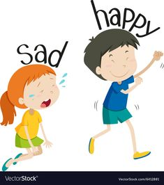 Opposite adjective sad and happy Royalty Free Vector Image Learning English For Kids, English Worksheets For Kids, English Lessons For Kids, English Activities, Preschool Learning Activities, English Language Learning, Teaching English, Learn English, Opposites For Kids