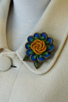 Felt and zipper  flower brooch turquoise and by woollyfabulous, $40.00