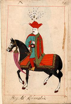 The Bey of Rumelia.  The 'Rålamb Costume Book' is a small volume containing 121 miniatures in Indian ink with gouache and some gilding, displaying Turkish officials, occupations and folk types. They were acquired in Constantinople in 1657-58 by Claes Rålamb who led a Swedish embassy to the Sublime Porte, and arrived in the Swedish Royal Library / Manuscript Department in 1886.