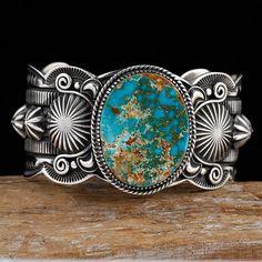DELBERT GORDON Natural Royston Turquoise Bracelet Sterling Silver Navajo .b