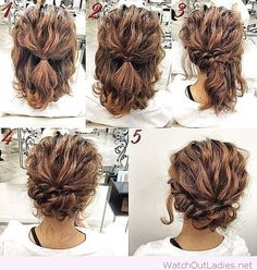 Pretty updo tutorial Short Curly Hair Updo, Curly Hair Updo Wedding, Short Updo Hairstyles, Easy Curly Updo, Naturally Curly Updo, Medium Hair Updo Easy, Medium Length Hair Updos, Curly Hair Braid Styles, Curly Up Do