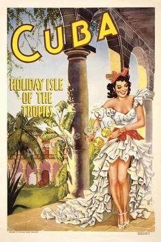 Cuba Holiday Isle Vintage Style Travel Poster 24x36 #Vintage