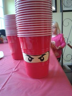 Lego ninjago birthday party, decorate cups like Kai