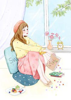 draw a face Art And Illustration, Illustration Mignonne, Art Anime Fille, Anime Art Girl, Girly Drawings, Disney Drawings, Girl Cartoon, Cartoon Art, Art Mignon