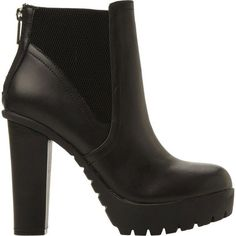 STEVE MADDEN Chunky cleated ankle boots (665 BRL) ❤ liked on Polyvore featuring shoes, boots, ankle booties, high heel boots, short boots, black boots, chunky black booties and black bootie