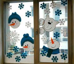 DIY Window Decor Ideas For Christmas - Weihnachten Decoration Creche, Christmas Window Decorations, Holiday Decor, Snowman Decorations, School Decorations, Winter Crafts For Kids, Diy For Teens, Preschool Crafts, Simple Designs