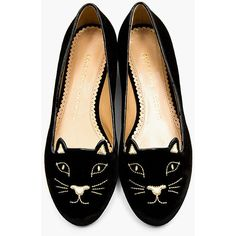 Charlotte Olympia Black Embroidered Velvet Kitty Flats (635 CAD) ❤ liked on Polyvore featuring shoes, flats, shoes - flats, zapatos, embroidered flats, black round toe flats, black velvet shoes, flat shoes and metallic flats