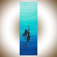 Mermaid art mermaid painting Teal blue painting by QiQiGallery                                                                                                                                                                                 More