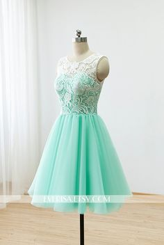 Short Lace Prom Dresses 2016 Ball Gown Mint Green Bridesmaid Dresses For Formal…