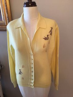 Vintage Yellow Pringle Cashmere Cardigan with Collar and