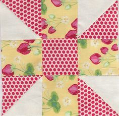 Calico Puzzle. This would make a good block to use scraps on. Good block for M.E. fabrics