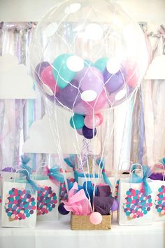 Balloon-filled hot air balloon from a Hot Air Balloon Birthday Party on Kara's Party Ideas | KarasPartyIdeas.com (15)