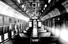 Here in Chicago, interior of Illinois Central RR passenger coach with gas lighting, used at advent of 20th century: