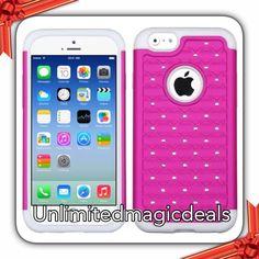 "White Hot Pink Hard Protective Hybrid Case Stud Diamonds For iPhone 6 (4.7"") #UnbrandedGeneric"