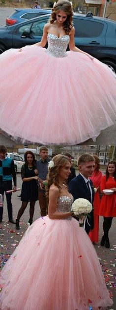 Modest Ball Gown Sweetheart Long Tulle Beading Quinceanera Dress Pink Sweet 15 Dresses 16 Gowns