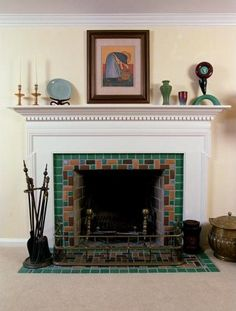 Pewabic tiles used for a fireplace surround designed by Tracey ...