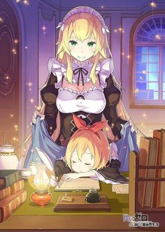 Maid, sleeping child, blanket, books, home, table