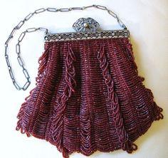 Vintage Antique Art Nouveau Gold T Frame Hand Knit Brown Iridescent Bead Fringe Purse Top Watermelons