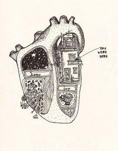 Art and illustrations of the human anatomy. Art And Illustration, Love Heart Illustration, Landscape Illustration, Heart Art, Art Inspo, Anatomy, Cool Art, Art Drawings, Music Drawings