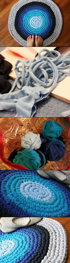 Sew T-Shirt Emmy Makes: Crochet Rug from Repurposed T-shirts. maybe I'll try this in my dorm. - Learn how to make yourself a beautiful and functional crochet rug from repurposed t-shirts. All you need is a large crochet hook and some shirts! Crochet Home, Crochet Crafts, Yarn Crafts, Sewing Crafts, Knit Crochet, Diy Crafts, Crotchet, Easy Crochet Projects, Yarn Projects