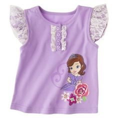 Disney® Sofia the First Toddler Girls' Lace Cap Sleeve Tee
