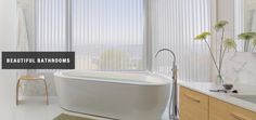 A serene bathroom with Luminette® Privacy Sheers; available at ASAP Blinds in Manasquan, NJ