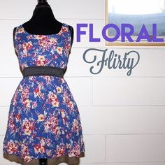 Flirty floral spring dress, blue, fitted Blue floral dress, fitted at waist. Vintage style floral pattern. Super cute and great for spring! Dresses Midi