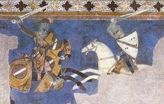 Tournament scene, fresco in the Palazzo Comunale di San Gimignano, attributed to Azzo di Masetto