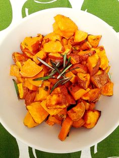 Super easy Oven Roasted Sweet Potatoes With Rosemary by Lazy Girl Dinners #glutenfree #paleo #recipes