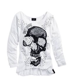 7bdbeb9fe6a3 Harley-Davidson® Women s Black Label Skull and Sparkle Long Sleeve Knit