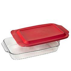 Pyrex Lasagna. Pyrex 3-qt Sculpted Oblong Baking Dish w/ Red Lid, 9-Inch X 13-Inch.  #pyrex #lasagna #pyrexlasagna