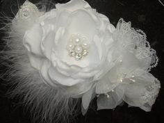 Pure White Baby Flower Headband Christening by lepetitejardin