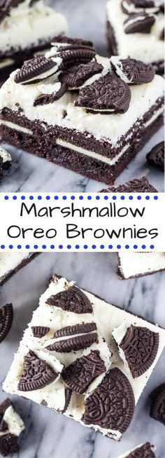 Fudgy Brownies gefüllt mit Oreos & überbacken mit flauschigem Marshmallow-Zuckerguss & mehr … Fudgy brownies stuffed w/ Oreos & topped with fluffy marshmallow frosting & more Oreo cookies. You NEED these Marshmallow Oreo Brownies - Oreo Fun Love Best Dessert Recipes, Easy Desserts, Delicious Desserts, Cake Recipes, Sweet Desserts, Oreo Cookies, Chocolate Chip Cookies, Chocolate Chips, Oreo Brownies