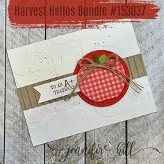 card apple apples SU Harvest Hellos Stampin Up, Fall Cards, Christmas Cards, Apple Boxes, Presents For Teachers, Teacher Cards, Thanksgiving Cards, Student Gifts, Fall Halloween, Homemade Cards