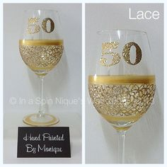 50th Birthday  Red Wine Glass Lace by InaSpinNiquesWay on Etsy, $22.50