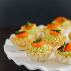 Smoked Salmon & Avocado Mousse Cups Recipe Appetizers with avocado, sour cream, smoked salmon, fillo, chives