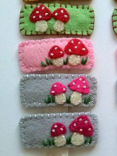 Felt hairclip  Mushrooms / wool blend felt  cute hair clip by DusiCrafts on Etsy