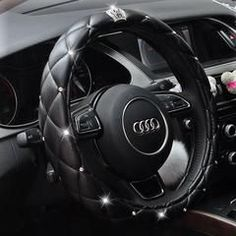 Bedazzled Steering Wheel Cover with Bling Crown FEATURES  Sparkling and bedazzled. Safe for driving. Shown on Mercedes Benz.  Matches perfectly with other girly bedazzledbling car accessories.  Fit perfectly with A, AX, AXX steering wheels. If you are not sure what sizeyour steering wheel is, you can check out this sizechart.