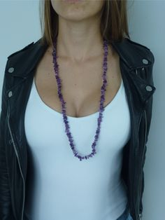"Natural Amethyst Crystal Necklace 32"" spiritual awakening opening 3rd eye chakra enhancing intuition promotes universal truth"