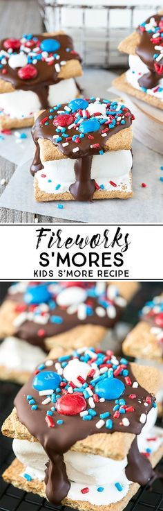 Need a kids s'more recipe? These homemade Fireworks S'mores will do the trick this July or any night this summer! (Baking Treats For Kids) 4th Of July Desserts, Fourth Of July Food, Holiday Desserts, Holiday Treats, Holiday Recipes, July 4th, Summer Recipes, Holiday Fun, Patriotic Desserts