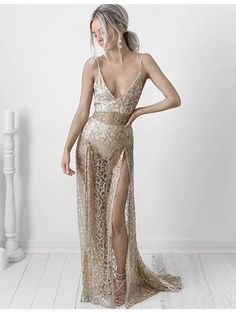 Buy Sexy Sheath Deep V-neck Split Sweep Train Lace Prom Dress Champagne, from for $369.99 only in Main Website.